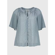 Blue Short Sleeve Textured Blouse