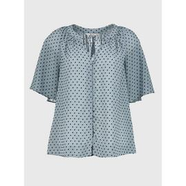 Blue Short Sleeve Textured Blouse
