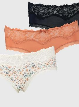 Floral Print & Plain Knicker Shorts 3 Pack