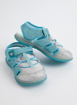 Blue Glittery Light Up Adventure Sandals