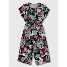 Black Floral Print Woven Jumpsuit