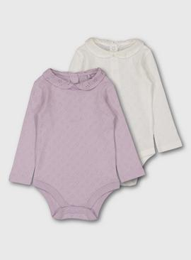 Lilac & White Pointelle Bodysuit 2 Pack