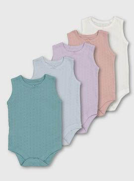 Pastel Pointelle Sleeveless Bodysuit 5 Pack