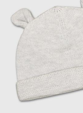 Grey Bear Knitted Hat
