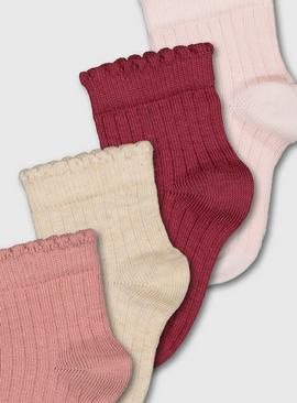 Pink Ribbed Ankle Socks 4 Pack