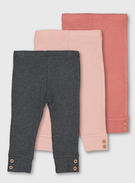 Pink & Grey Rib Leggings 3 Pack