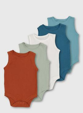 Assorted Sleeveless Bodysuits 5 Pack