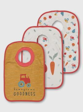 Vegetable Print Popover Bibs 2 Pack - One Size