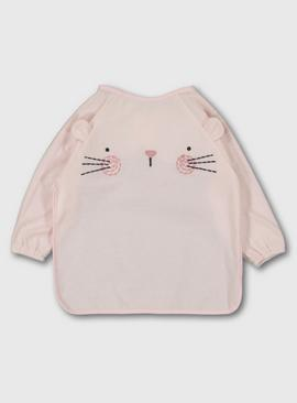 Pink Mouse Long Sleeve Bib - One Size