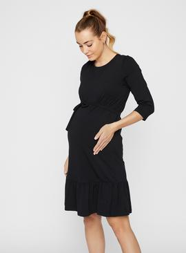 Black Jersey Midi Length Maternity Dress