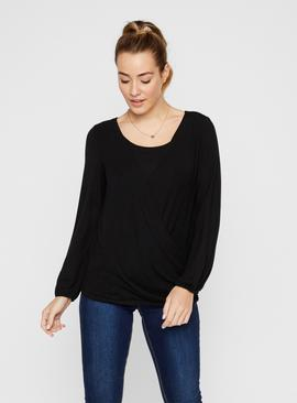 Black Long Sleeve Nursing Wrap Top