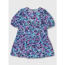Blue & Purple Abstract Flower Print Woven Dress