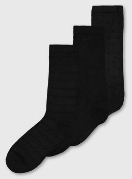 Black Ankle Socks 3 Pack - 4-8