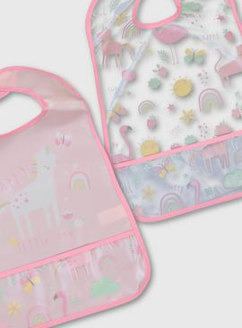 Pink Unicorn Print Bibs 2 Pack - One Size