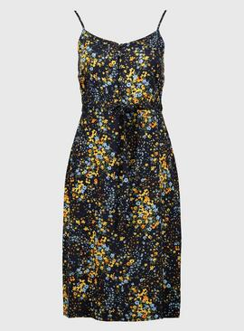 PETITE Navy Ditsy Floral Woven Strappy Cami Dress