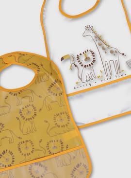 Lion Print Bibs 2 Pack - One Size
