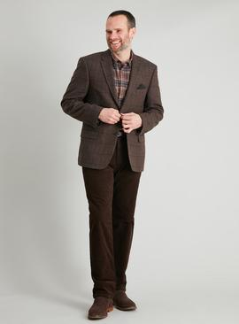 Brown Check Regular Fit Jacket With Wool