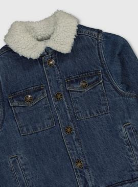Denim Jacket With Borg Lining & Collar