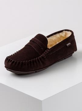 Brown Suede Saddle Moccasin Slippers