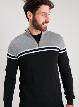 Black Colour Block Half Zip Jumper