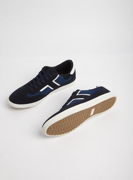 Navy Lace Up Faux Suede Trainers