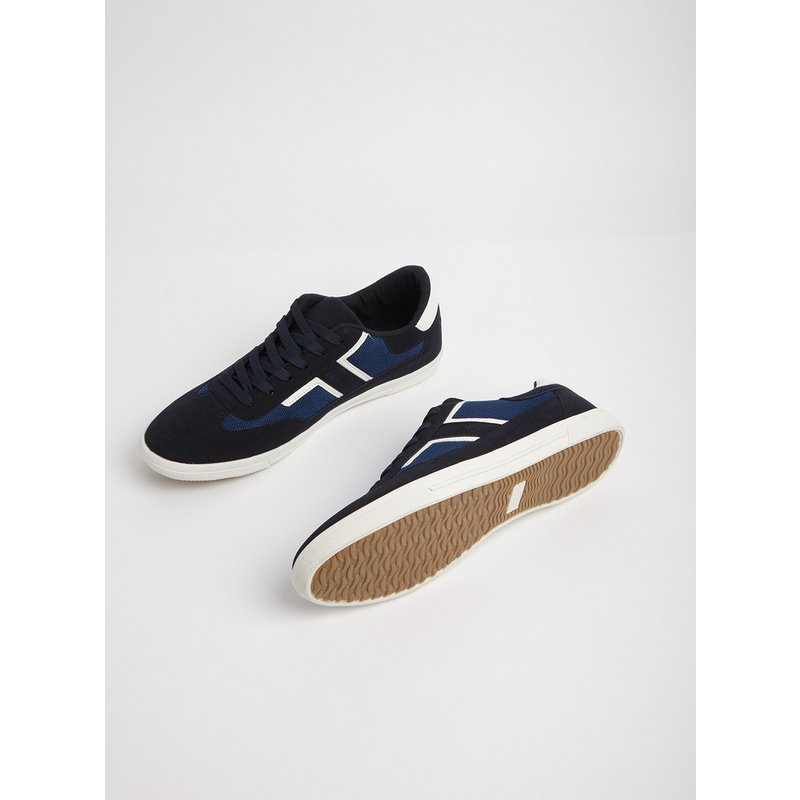 Navy Lace Up Faux Suede Trainers from Argos