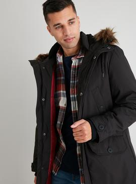 Black Faux Fur Trim Hooded Parka Coat