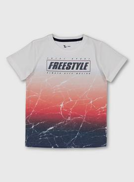 Cracked Ombré 'Freestyle' Slogan T-Shirt