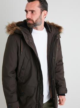 Hooded Shower Resistant Parka Coat