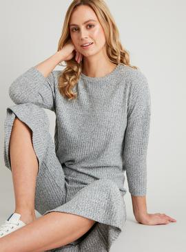 Grey Ribbed Long Sleeve Top
