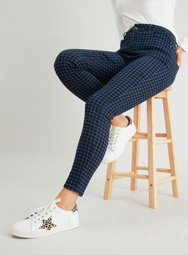 Navy Check Twill Skinny Jeans With Stretch