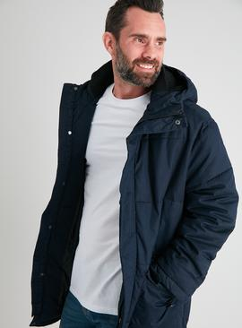 Navy Padded & Hooded Parka Coat