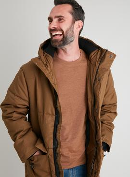 Tan Parka Coat With Fleece Lined Hood