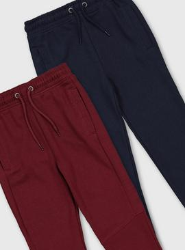 Navy & Burgundy Joggers 2 Pack
