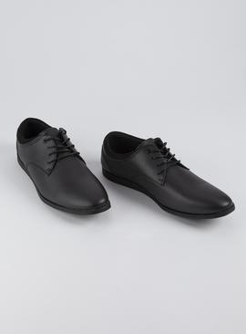 Black Faux Leather Lace Up Derby Shoes
