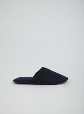 Navy Textured Mule Slipper