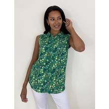 Green Floral Print Longline Sleeveless Shirt