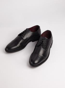 Sole Comfort Black Leather Toe Cap Shoes