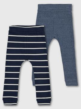 Blue & Stripy Ribbed Leggings 2 Pack
