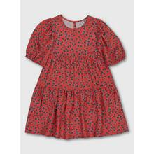 Red Ditsy Floral Print Woven Dress