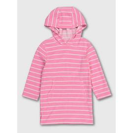 Pink Stripy Hooded Towel Dress
