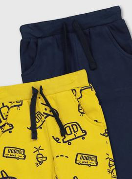 Yellow Transport Print & Navy Joggers 2 Pack