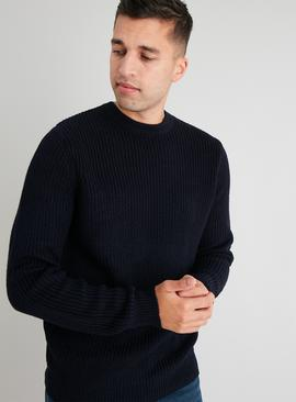 Navy Crew Neck Ribbed Jumper