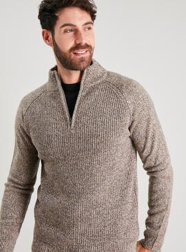 Brown Twist Knit Half Zip Jumper