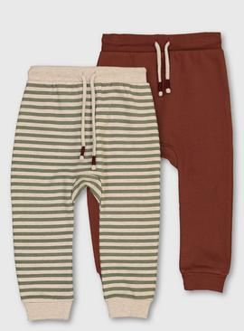 Stripe & Burgundy Joggers 2 Pack