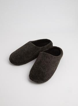 Grey Fleck Velour Mule Slipper