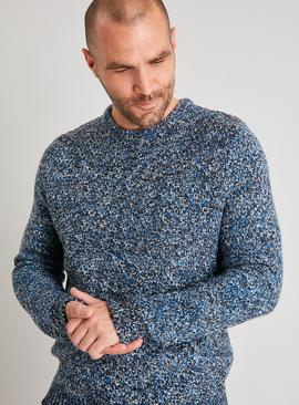 Blue Basket Stitch Crew Neck Jumper