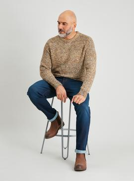 Beige Basket Stitch Crew Neck Jumper