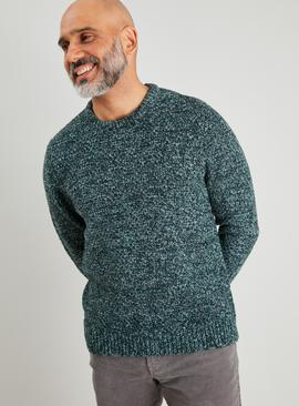 Green Basket Stitch Crew Neck Jumper