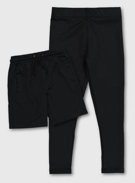 Black Active Shorts & Leggings Set